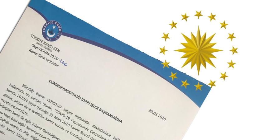 Türkiye Kamu-Sen Sağlık Çalışanlarının Eşlerinin İdari İzinli Sayılması İçin Cumhurbaşkanlığı'na Başvurdu