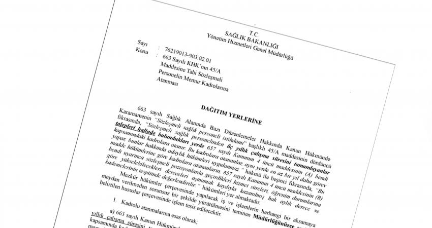 Süreyi Dolduran 45/A'lı Sözleşmeli Personelin Kadroya Atanması İçin Yazı Yayınlandı