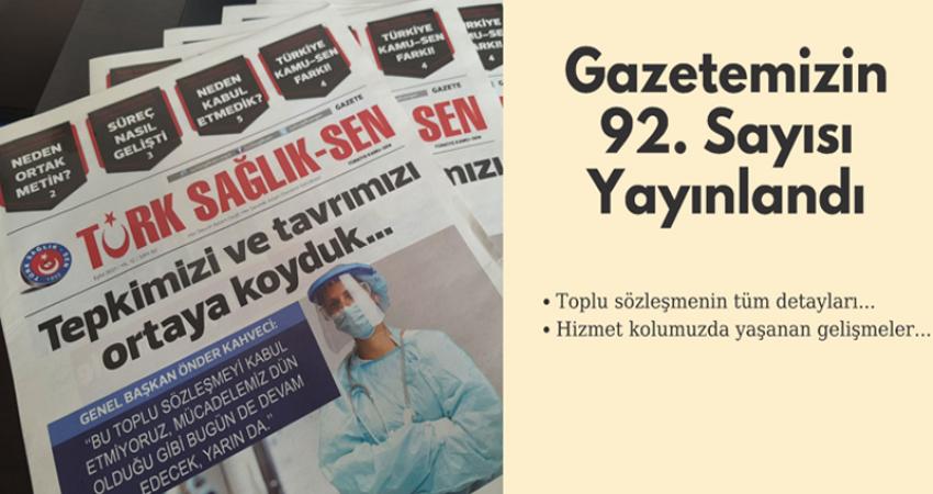 GAZETEMİZİN 92. SAYISI YAYINLANDI.