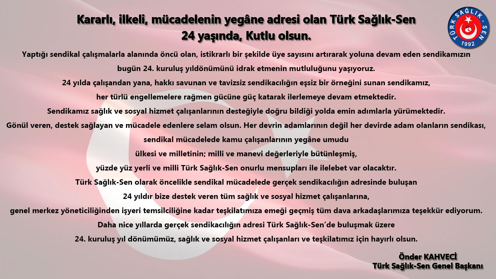 Türk Sağlık-Sen 24 Yaşında