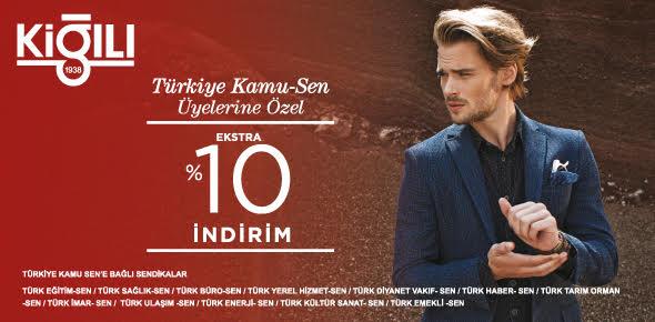 Türkiye Kamu-Sen üyelerine Kiğılı ve Abdullah Kiğılı Mağazalarımızda Yeni Sezonda %50 + %10 İndirim kampanyası başlamıştır.