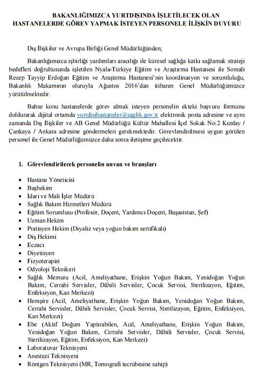 Sağlık Bakanlığı, yurtdışında görev yapacak idareci ve sağlıkçılar için bir duyuru yayınladı
