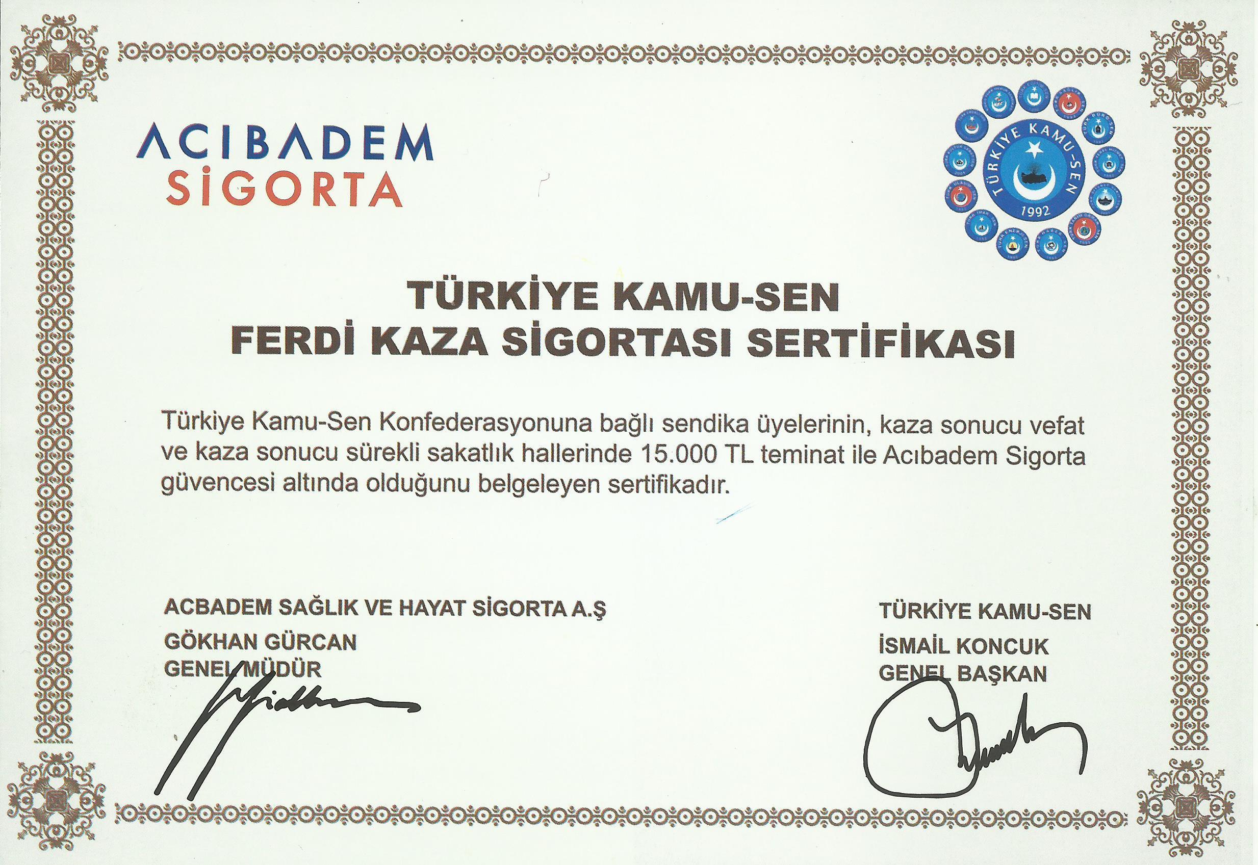 Trafik Kazası Sonucu Vefat Eden Üyemiz Ebe Fatma Sevim'in Ailesine Ferdi Kaza Sigortası Ödemesi Yapılmıştır.