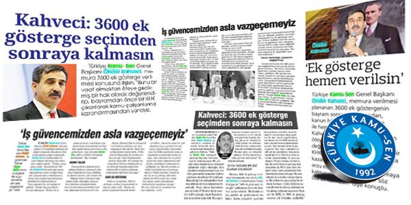 Türkiye Kamu-Sen Genel Başkanı Kahveci'nin  Açıklamaları Manşetlerde