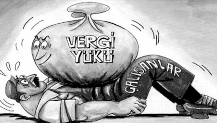 """Türkiye Kamu-Sen Ar-Ge Merkezi'nin yaptığı """"Ailenin Zorunlu Harcamalarından Tahsil Edilen Vergi Raporu"""" ülkenin vergi yükünü dar ve sabit gelirlilerin çektiğini ortaya koydu."""