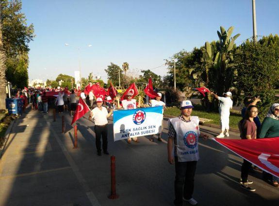 Şehitlerimize sahıp çıkmak ve terörü lanetlemek için 30 Ağustos Pazar günü Antalya Kamu Sen.ve diğer Sivil Toplum Örgütleri ile Birlikte yürüyüş gerçekleştirdik.