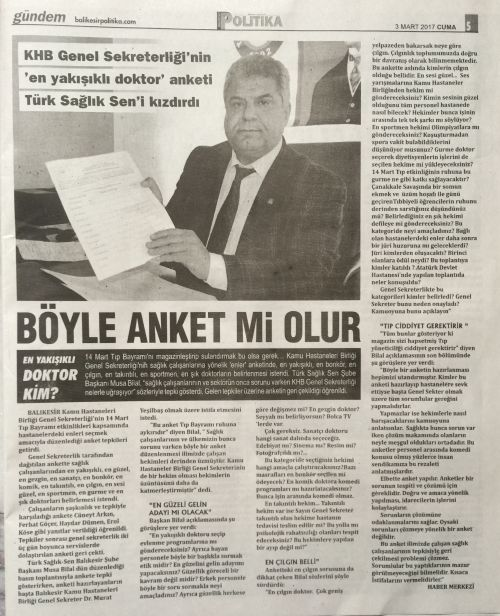 14 Mart Tıp Bayramı dolayısıyla Balıkesir Kamu Hastaneler Birliği Genel Sekreterliğince hazırlanan anket hakkında basın açıklaması düzenlendi