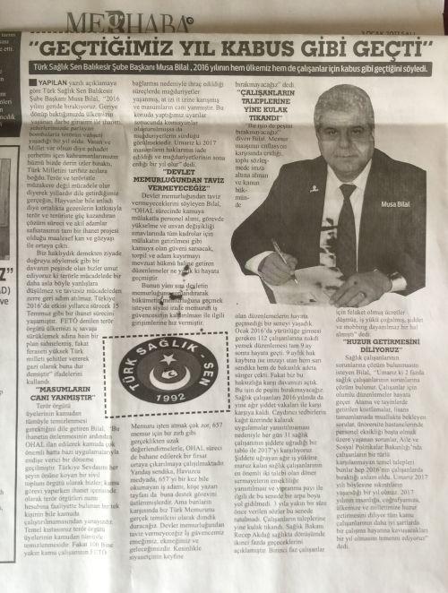 Şube Başkanımız Musa Bilal, 2016 yılının genel değerlendirmesinin yapıldığı bir basın açıklaması düzenledi. Basın açıklamasında Ülkemizde 2016'da yaşanan gelişmeleri ve kamu çalışanlarının durumunu ele aldı