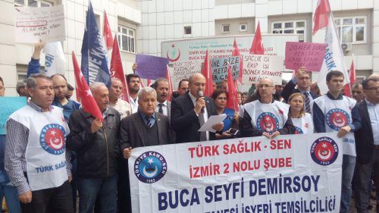 Buca Seyfi Demirsoy Devlet Hastanesinde Döner Sermaye Düşüşünü Protesto Edip Basın Açıklaması Yaptık.