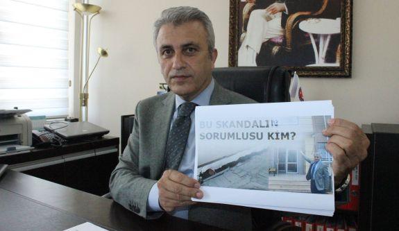 Türk Sağlık Sen Kocaeli Şube Başkanı Ömer Çeker Yavuz Selim Aile Sağlığı Merkezinin duvarlarında çatlakların oluşması bina tabanındaki çökme hakkında şubede basın açıklaması yaptı.