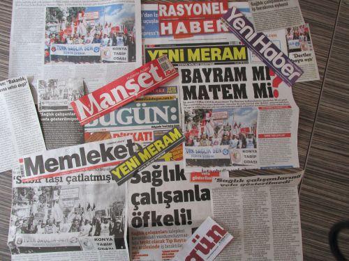 13 Mart'ta düzenlemiş olduğumuz iş bırakma eylemi ve basın açıklamamız, Konya Basınında geniş yer buldu.