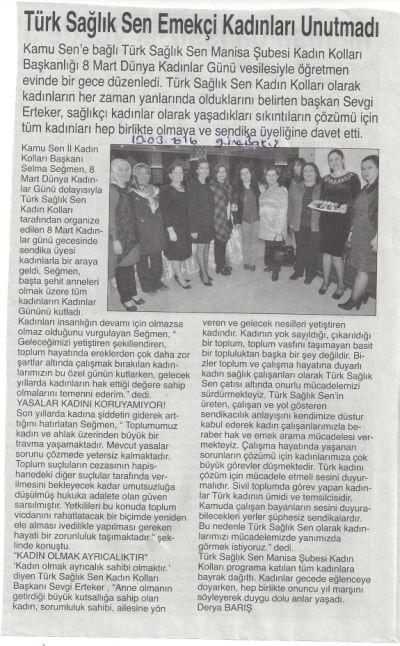 Türk Sağlık Sen Emekçi Kadınları Unutmadı