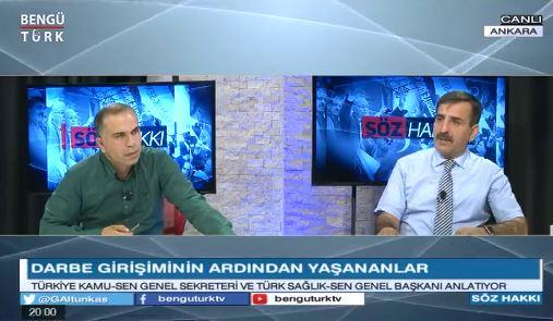 Genel Başkanımız Önder Kahveci, Bengütürk TV'de yayınlanan Söz Hakkı programında canlı yayın konuğuydu. Kahveci, programda Türkiye gündemini ve kamuda yaşanan açığa almaları değerlendirdi.