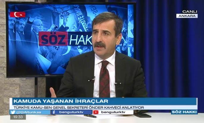 Genel Başkanımız Önder Kahveci, Ülke GÜndemini Bengü Türk TV'de yayınlanan Söz Hakkı Programında değerlendirdi.