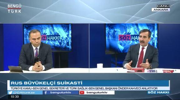 Genel Başkanımız Önder Kahveci, Bengütürk'te yayınlanan Söz Hakkı Programında canlı yayın konuğuydu. Programda Ülke gündemini ve Kamu çalışanlarının sorunlarını değerlendirdi.