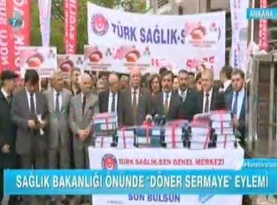 Sağlık Bakanlığı Önünde Döner Sermayeleri Protesto için düzenlediğimiz basın açıklaması Kanal D'de yer aldı