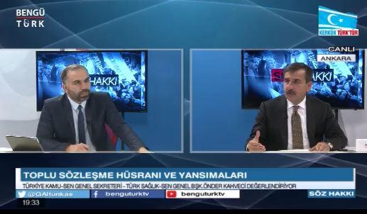 Genel Başkanımız Önder Kahveci Söz Hakkı Programında, toplu sözleşme süreci, kamu ve sağlık çalışanlarının sorunlarını ve ülke gündemini değerlendirdi.