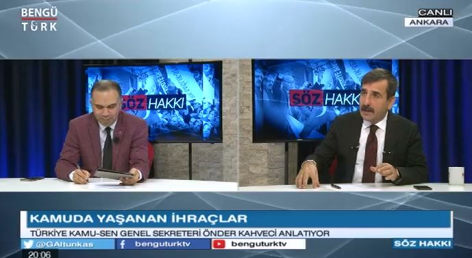 Genel Başkanımız Önder Kahveci, Ülke Gündemini ve Kamu çalışanlarının sorunlarını  Bengü Türk TV'de yayınlanan Söz Hakkı Programında değerlendirdi.